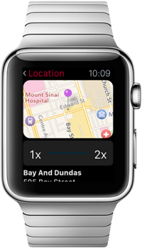 An Apple Watch displays nearby CIBC branches on a map