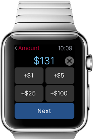 An Apple Watch displays fund transfer screen