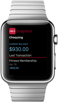 Snapshot displays a current balance and last transaction on an Apple Watch