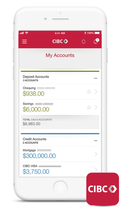 CIBC app on mobile phone