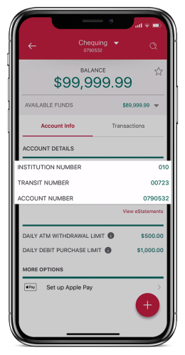 Smartphone showing how to get your direct deposit information on your mobile device