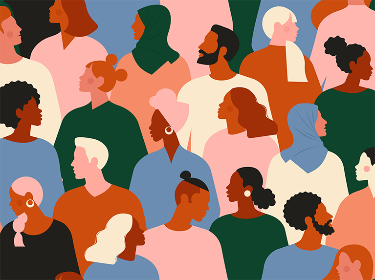 colorful illustration of group of people