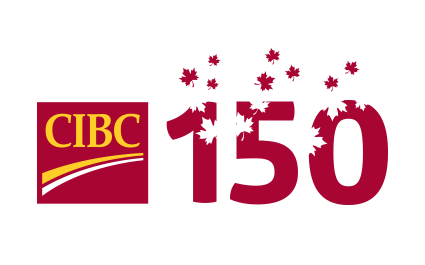 CIBC logo and the number 150 covered in maple leaves.