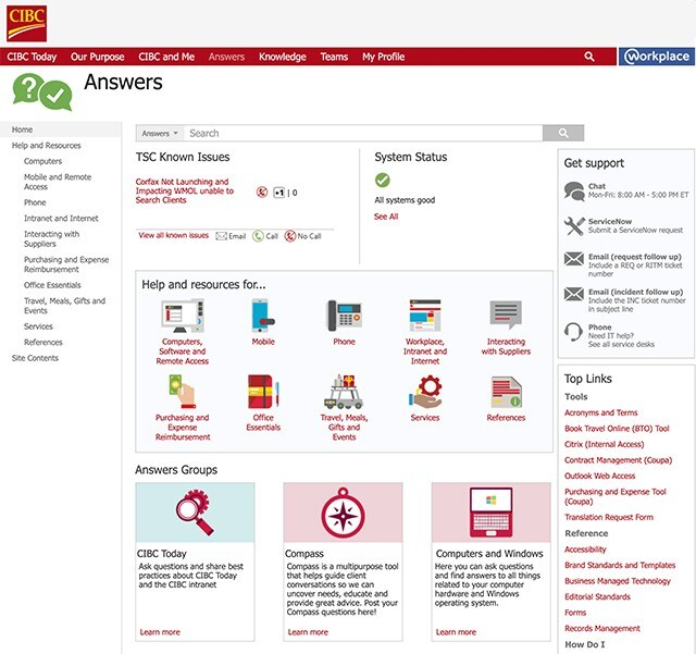 Screenshot of the Help and Services web page