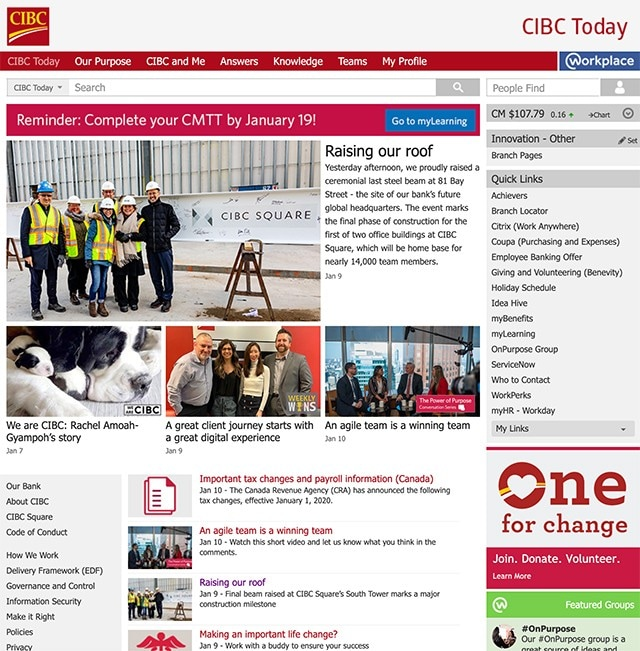 Screenshot of the CIBC Today homepage