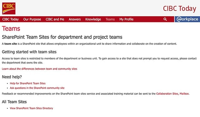 Screenshot of the SharePoint Teams Sites web page
