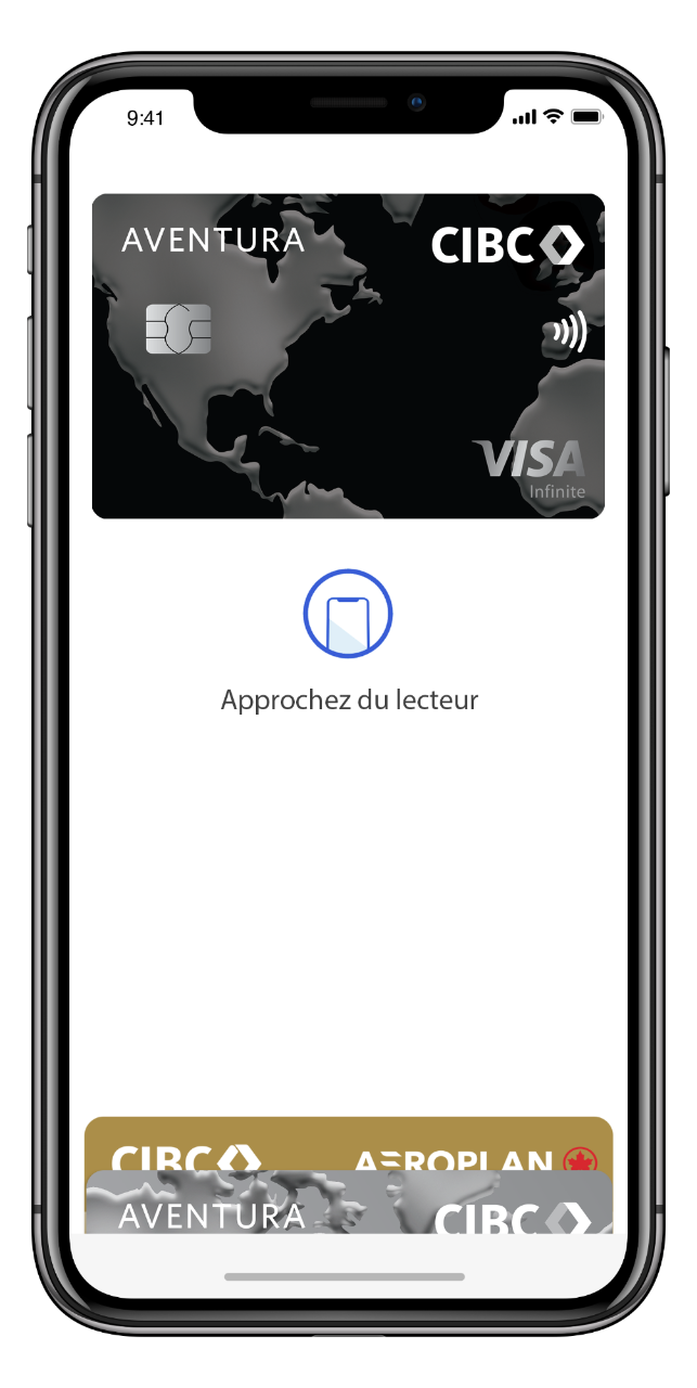 Un iPhone affiche l'écran Apple Pay avec la carte Visa Infinite Aventura