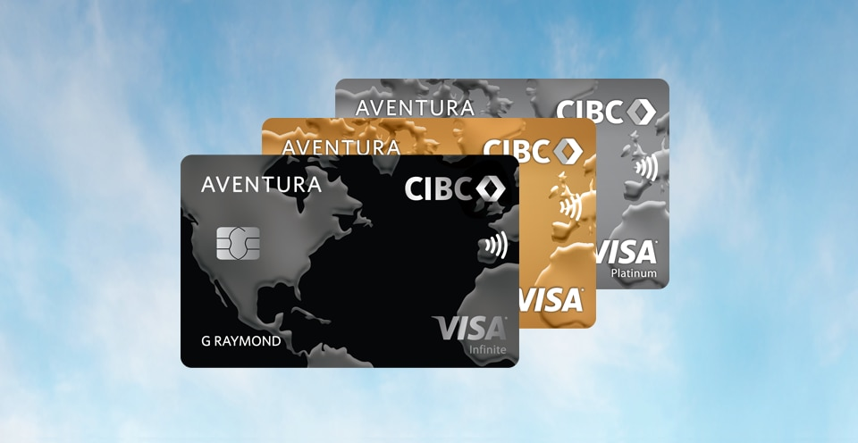 Three CIBC Aventura Visa cards.