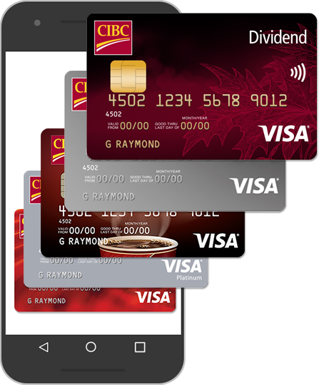 A stack of credit cards emerge from a smartphone.