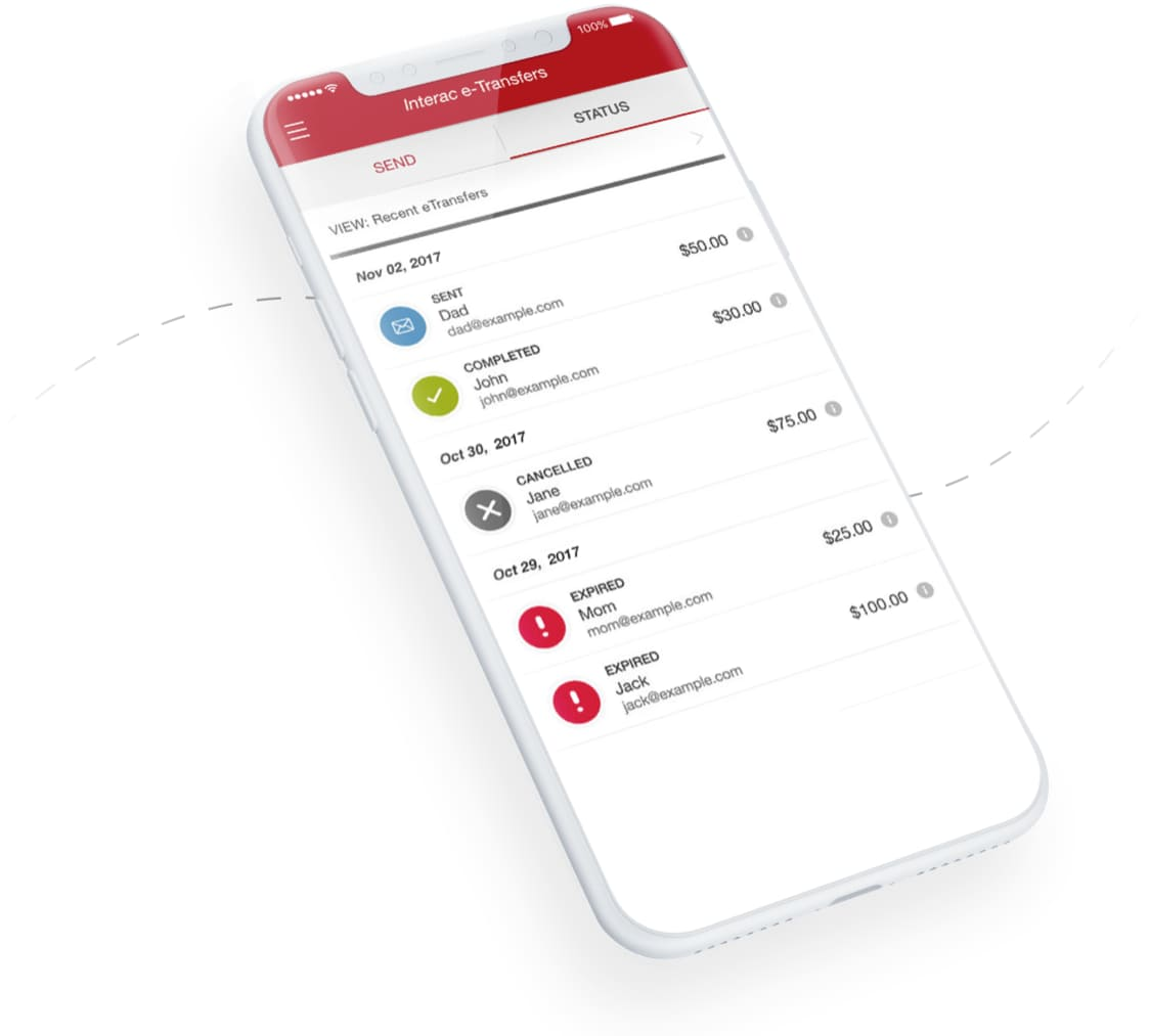 Interac e-Transfer screen on the CIBC app