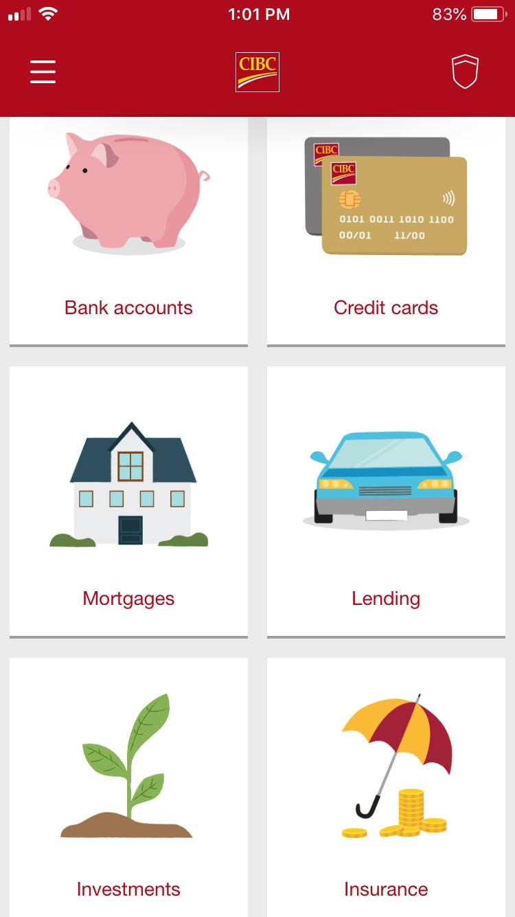 Accounts screen on the CIBC app
