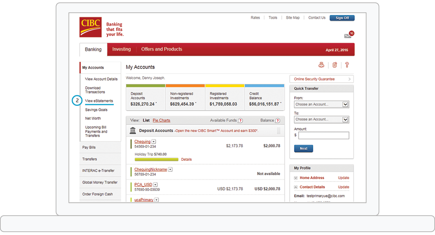 CIBC My Accounts page