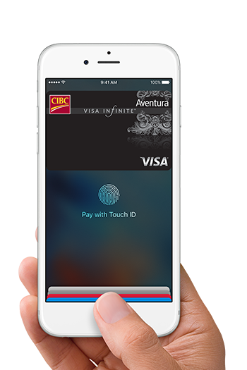 person holding a phone displaying Apple Pay screen with Aventura Visa Infinite card