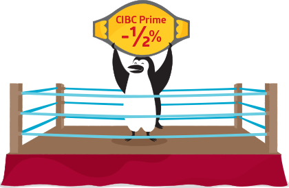 Percy Penguin stands in a boxing ring, holding a belt that displays the CIBC Prime rate of minus 1/2%