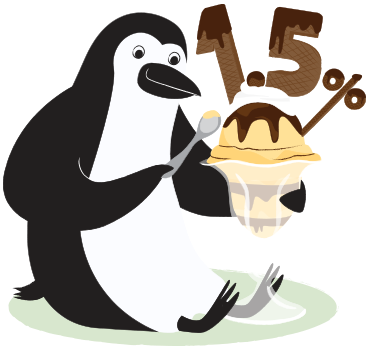 An illustration of Percy Penguin eating a sundae with toppings in the shape of 1.5%.