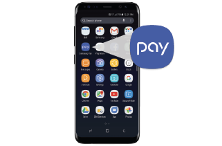 Samsung phone home screen featuring the Samsung Pay icon