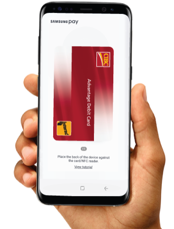 Samsung phone with the CIBC Advantage Debit Card on the Samsung Pay screen