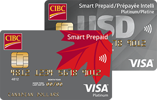 A CIBC Smart Prepaid Visa Card and a CIBC Smart Prepaid Travel Visa Card in U.S. Dollars
