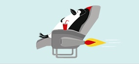 Percy Penguin relaxing on a rocket-powered recliner flying through the air