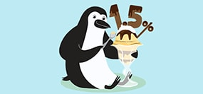 Percy Penguin enjoying an ice cream sundae with 1.50 percent on top