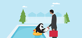 Percy Penguin switches his mortgage at the side of his pool