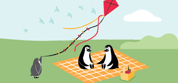Percy Penguin and his family having a picnic in the park.