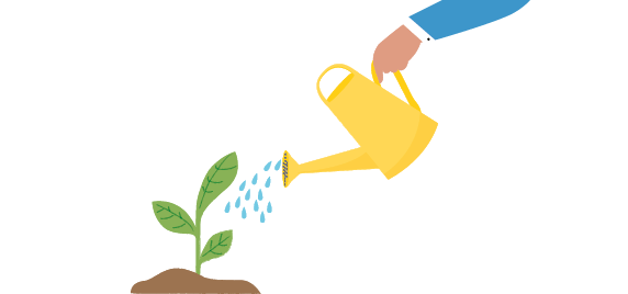 Hand holding watering can, pouring water on small plants