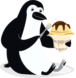 Percy Penguin enjoying an ice cream sundae