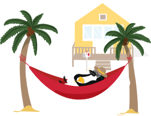 Percy Penguin naps in a hammock on the beach