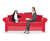 Percy Penguin and a CIBC advisor having a conversation on a couch.