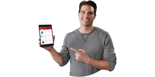 photo of Scott McGillivray holding a tablet displaying CIBC online banking
