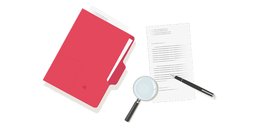 Graphic of hands holding file folder and magnifying glass