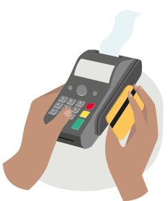 Hands using a debit card at a point-of-sale terminal