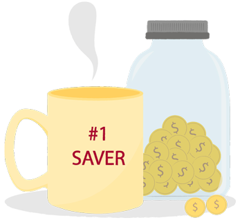 Illustration of savings jar with coins and coffee mug that says #1 Saver