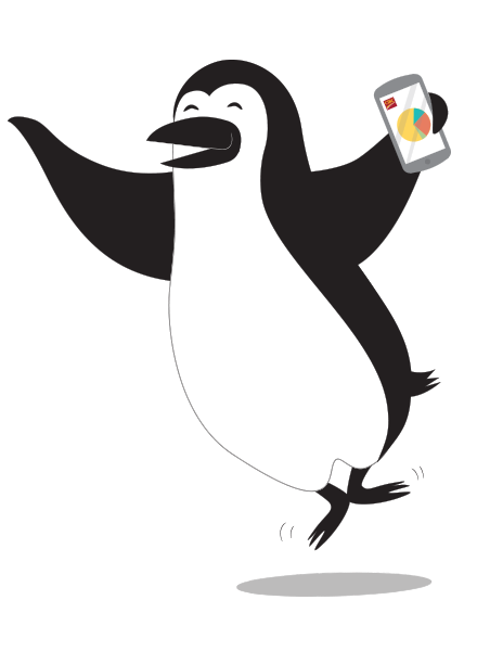 Illustration of Percy Penguin doing a happy dance while banking on his smartphone