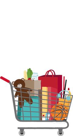 Graphic of shopping cart filled with groceries