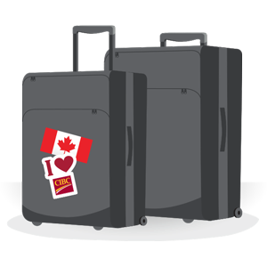 Graphic of luggage with Canadian flag and I love CIBC sticker