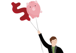Illustration of balloons shaped like a piggy bank and a dollar sign