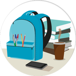 Illustration of student backpack with supplies and smartphone