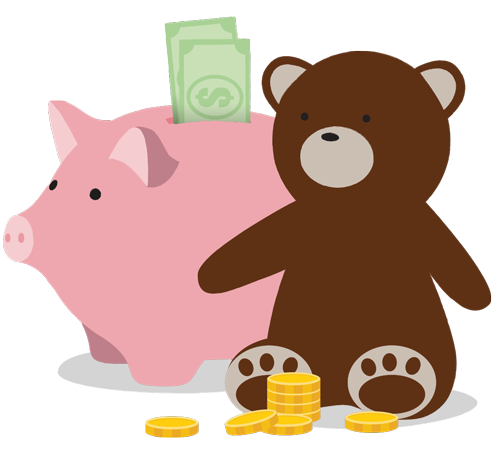Graphic of teddy bear and piggy bank with coins