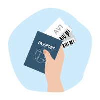 Person holds passport and plane tickets