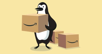 Percy Penguin holding an Amazon Prime box