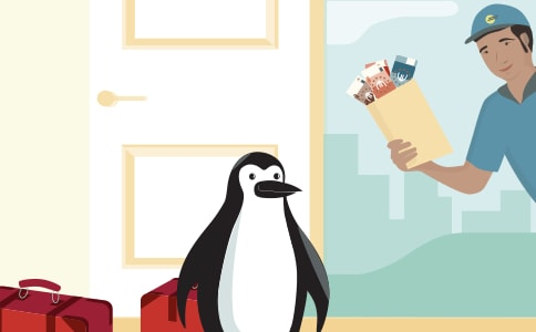 Percy Penguin receiving a cash delivery.