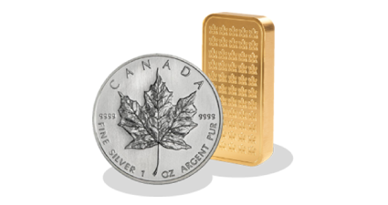 A silver coin and a gold bar