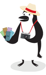 Percy Penguin holding foreign cash and camera