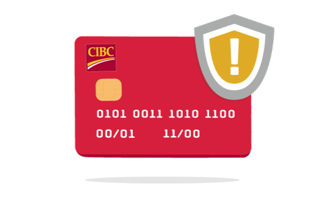CIBC card with fraud alert symbol. Symbol is in the shape of a shield with an exclamation point in its centre.
