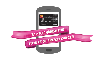 Pink breast cancer ribbon wrapped around smartphone. Text reads tap to change the future of breast cancer.