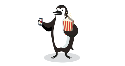 Percy Penguin holding a bag of popcorn and a smartphone