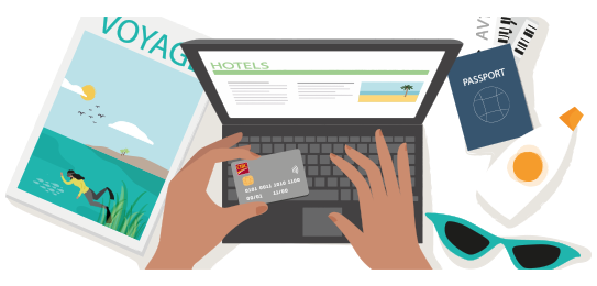 Person booking a hotel online using their CIBC Smart Prepaid card