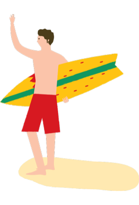 Illustration of a surfer standing on the sand, holding his board, waving to someone